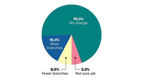 Pie chart forecasting community bank branch expansion in 2021